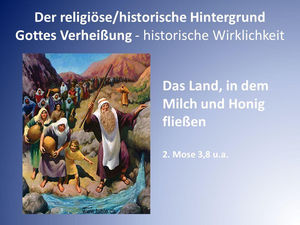 Der religiöse/historische Hintergrund Gottes Verheißung - historische Wirklichkeit Das Land, in dem Milch und Honig fließen 2. Mose 3,8 u.a.