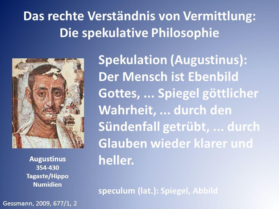 Das rechte Verständnis von Vermittlung: Die spekulative Philosophie Spekulation (Augustinus): Der Mensch ist Ebenbild Gottes,... Spiegel göttlicher Wa