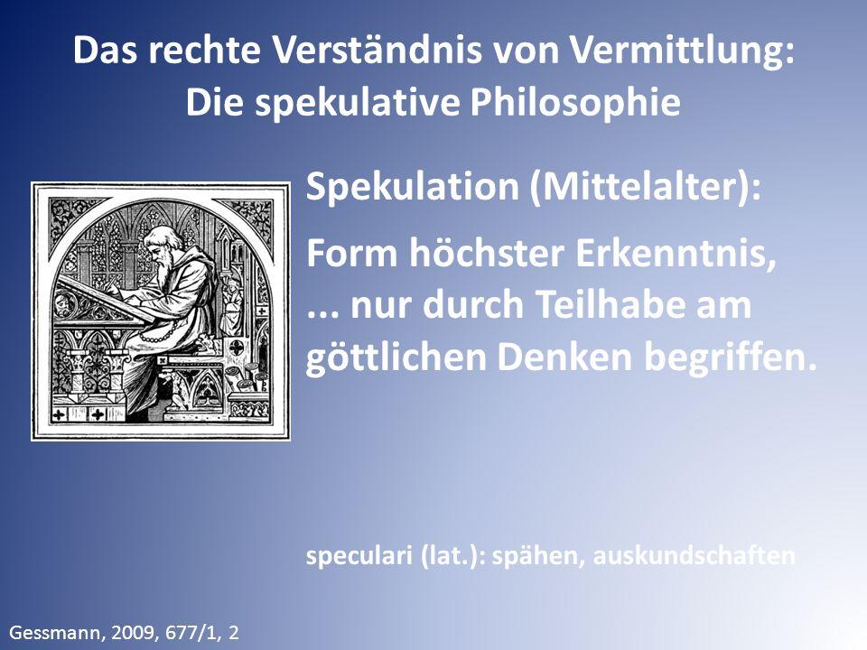 Das rechte Verständnis von Vermittlung: Die spekulative Philosophie Spekulation (Mittelalter): Form höchster Erkenntnis,... nur durch Teilhabe am gött