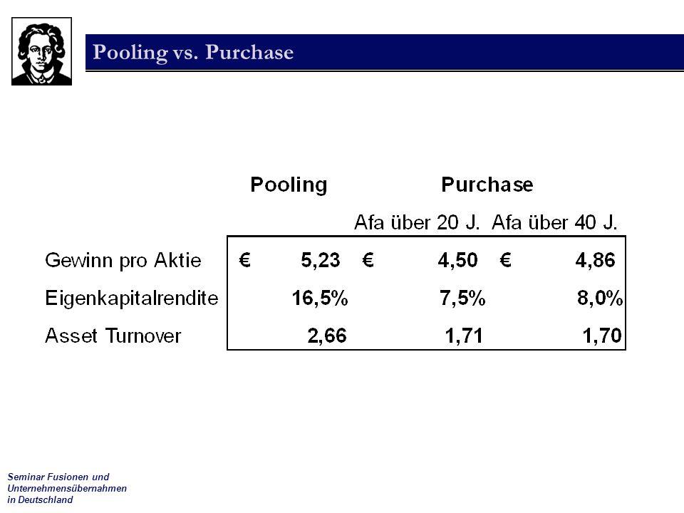 Seminar Fusionen und Unternehmensübernahmen in Deutschland Pooling vs. Purchase