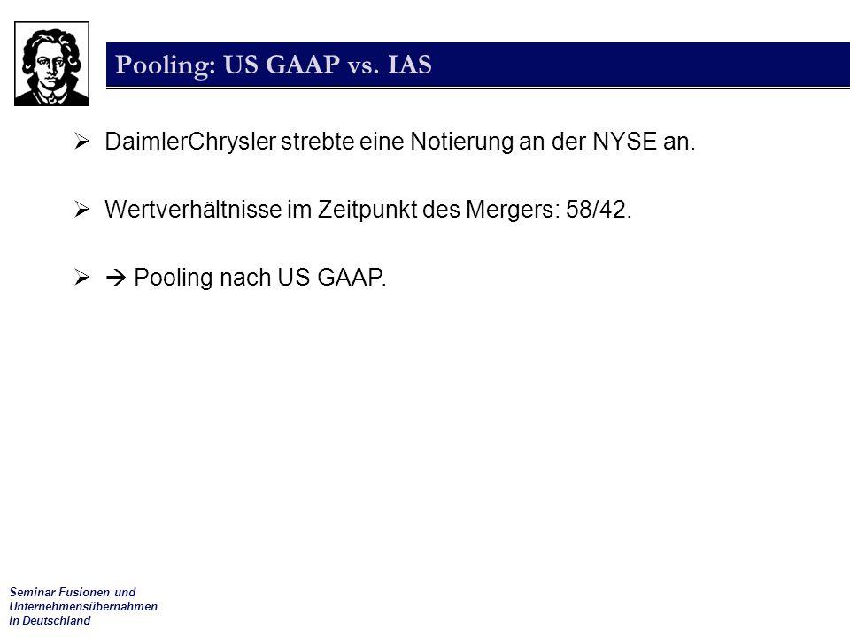 Seminar Fusionen und Unternehmensübernahmen in Deutschland Pooling: US GAAP vs. IAS  DaimlerChrysler strebte eine Notierung an der NYSE an.  Wertver