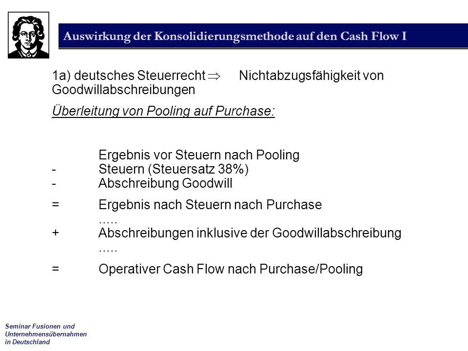 Seminar Fusionen und Unternehmensübernahmen in Deutschland Auswirkung der Konsolidierungsmethode auf den Cash Flow I 1a) deutsches Steuerrecht  Nicht
