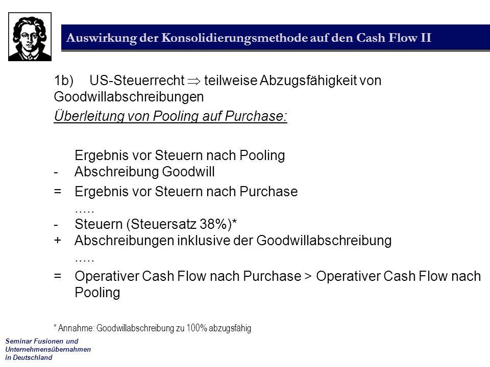 Seminar Fusionen und Unternehmensübernahmen in Deutschland Auswirkung der Konsolidierungsmethode auf den Cash Flow II 1b) US-Steuerrecht  teilweise Abzugsfähigkeit von Goodwillabschreibungen Überleitung von Pooling auf Purchase: Ergebnis vor Steuern nach Pooling -Abschreibung Goodwill =Ergebnis vor Steuern nach Purchase.....