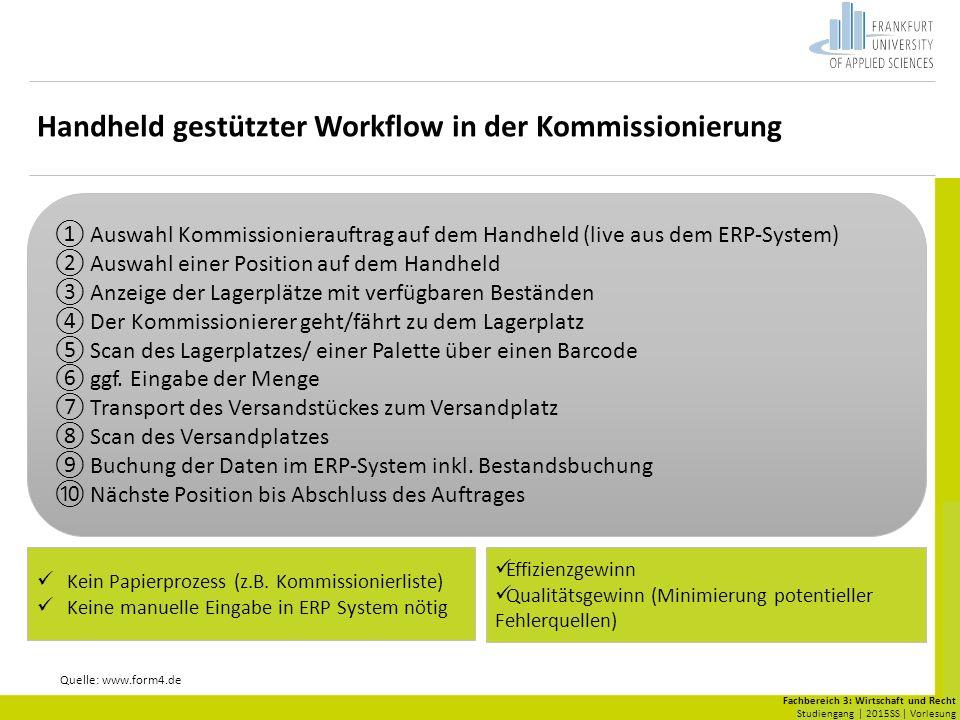 Fachbereich 3: Wirtschaft und Recht Studiengang | 2015SS | Vorlesung Handheld gestützter Workflow in der Kommissionierung Quelle: www.form4.de Kein Papierprozess (z.B.