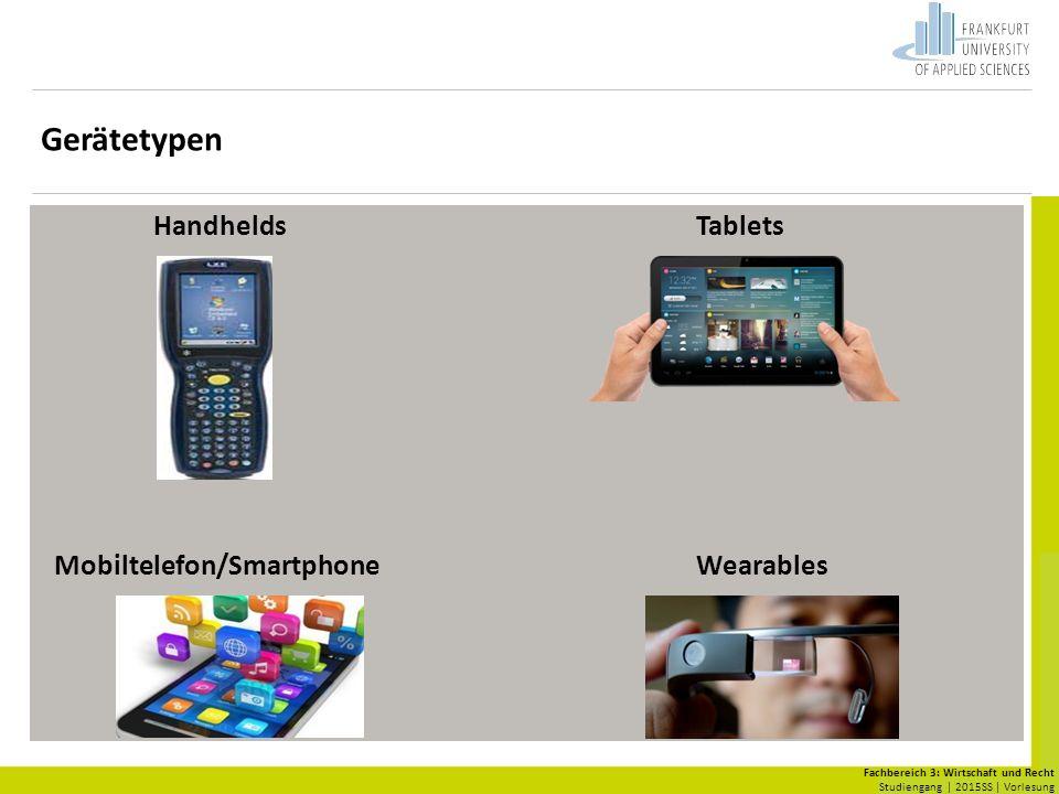Fachbereich 3: Wirtschaft und Recht Studiengang | 2015SS | Vorlesung HandheldsTablets Mobiltelefon/SmartphoneWearables Gerätetypen
