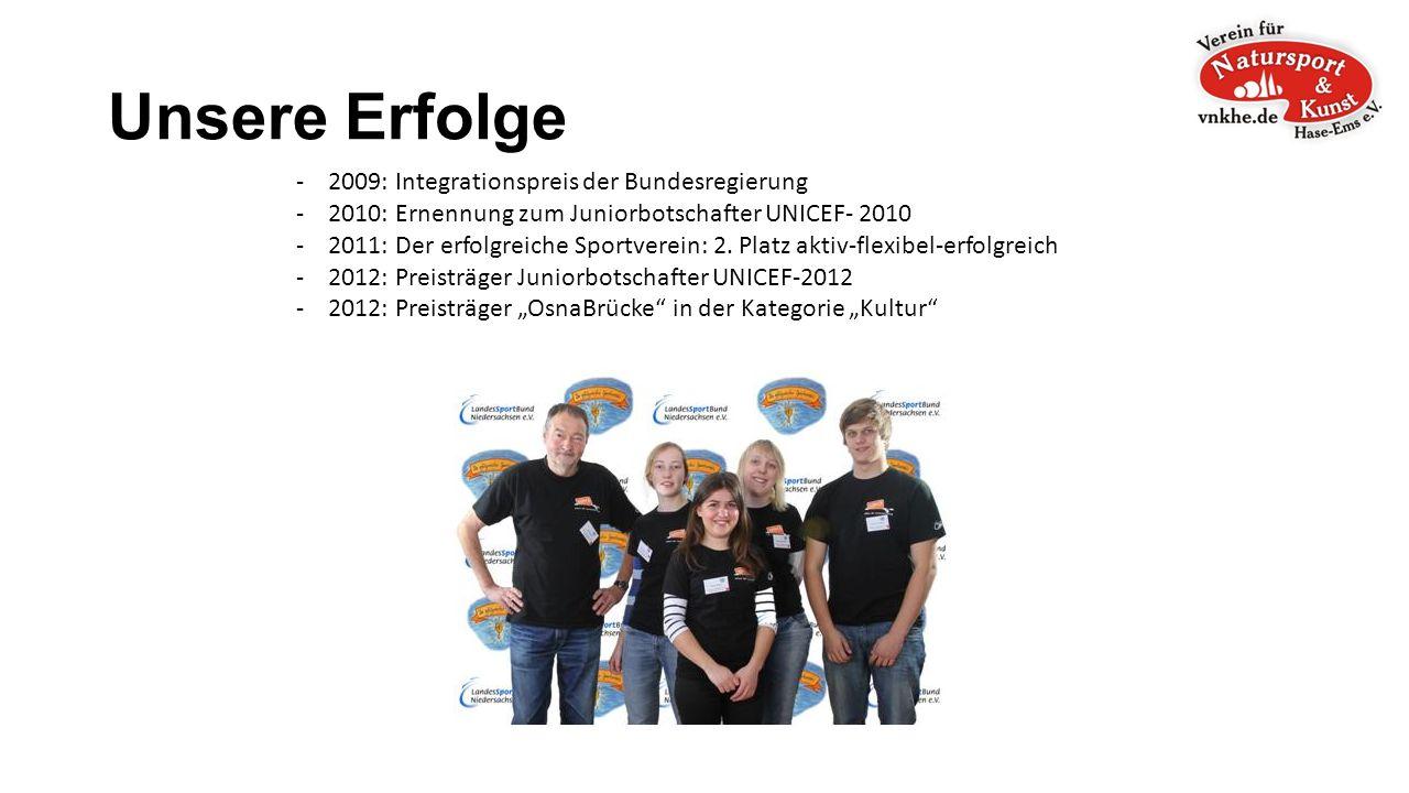 Unsere Erfolge - 2009: Integrationspreis der Bundesregierung - 2010: Ernennung zum Juniorbotschafter UNICEF- 2010 - 2011: Der erfolgreiche Sportverein