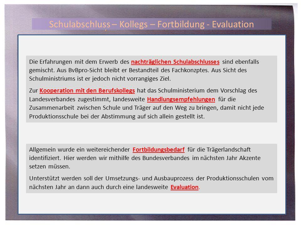 Schulabschluss – Kollegs – Fortbildung - Evaluation Die Erfahrungen mit dem Erwerb des nachträglichen Schulabschlusses sind ebenfalls gemischt.
