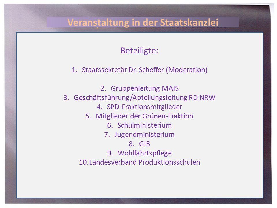 Beteiligte: 1.Staatssekretär Dr. Scheffer (Moderation) 2.Gruppenleitung MAIS 3.Geschäftsführung/Abteilungsleitung RD NRW 4.SPD-Fraktionsmitglieder 5.M