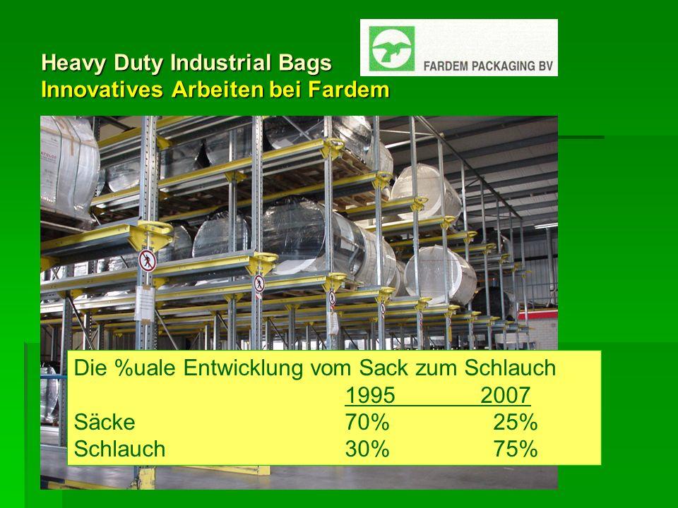Heavy Duty Industrial Bags Innovatives Arbeiten bei Fardem Die %uale Entwicklung vom Sack zum Schlauch 19952007 Säcke 70% 25% Schlauch30% 75%