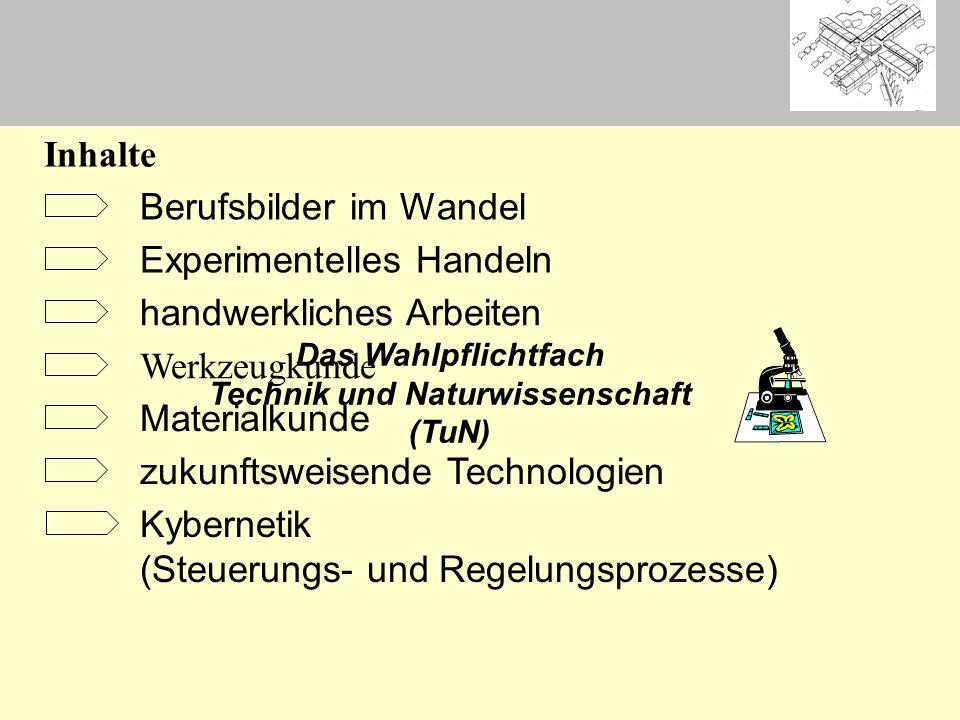 Das Wahlpflichtfach Technik und Naturwissenschaft (TuN) Berufsbilder im Wandel Experimentelles Handeln handwerkliches Arbeiten Werkzeugkunde Materialk