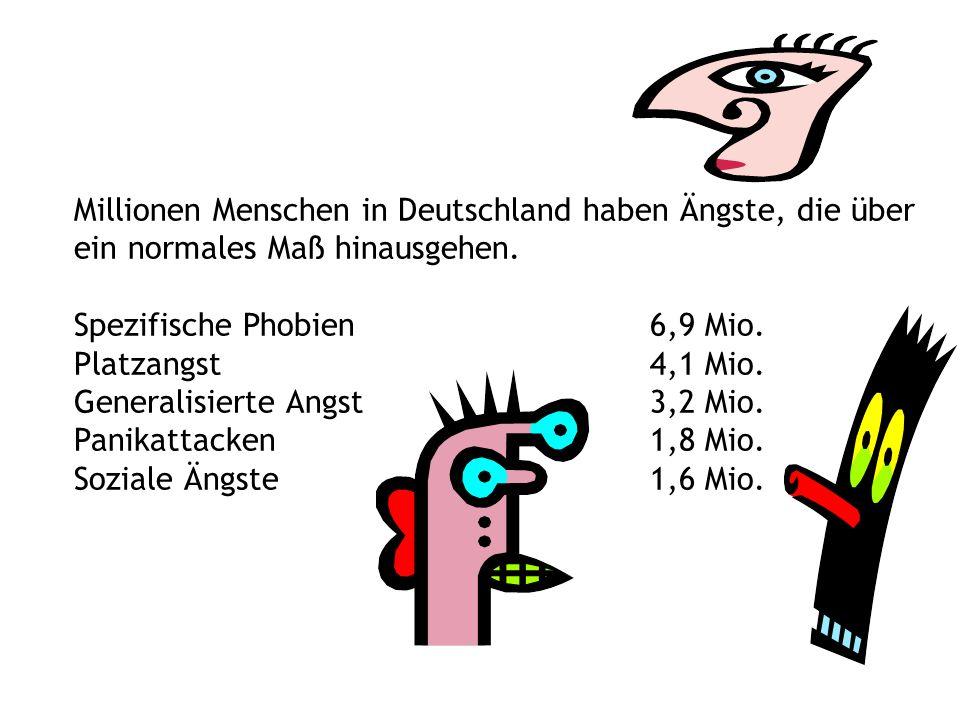 Millionen Menschen in Deutschland haben Ängste, die über ein normales Maß hinausgehen. Spezifische Phobien6,9 Mio. Platzangst4,1 Mio. Generalisierte A