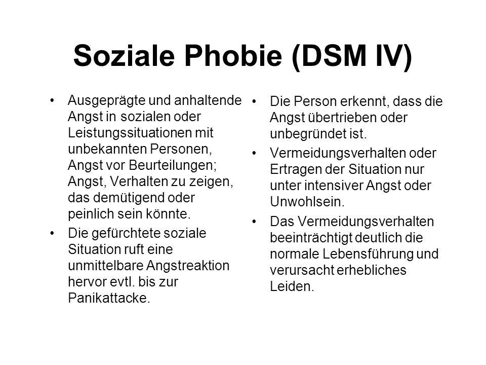 Soziale Phobie (DSM IV) Ausgeprägte und anhaltende Angst in sozialen oder Leistungssituationen mit unbekannten Personen, Angst vor Beurteilungen; Angs