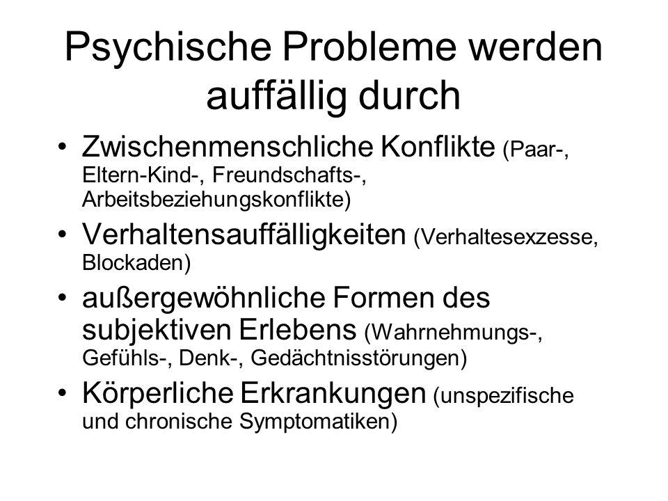 Psychische Probleme werden auffällig durch Zwischenmenschliche Konflikte (Paar-, Eltern-Kind-, Freundschafts-, Arbeitsbeziehungskonflikte) Verhaltensa