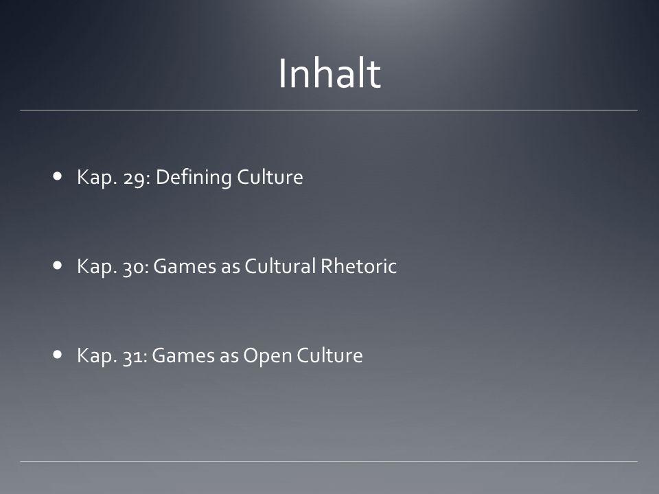 Fazit Spiele als offene Kultur bieten Spielern die Möglichkeit, in größeren Systeme in kulturellen Produktionen mitzuwirken.
