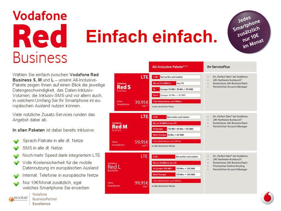 Wählen Sie einfach zwischen Vodafone Red Business S, M und L – unsere All-Inclusive- Pakete zeigen Ihnen auf einen Blick die jeweilige Datengeschwindi