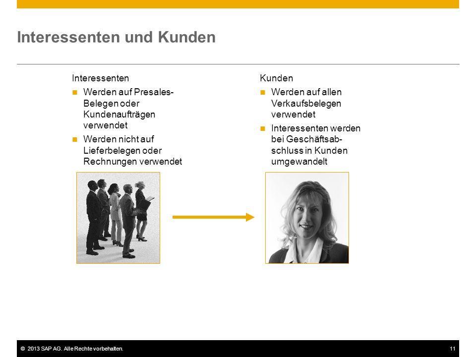 ©2013 SAP AG. Alle Rechte vorbehalten.11 Interessenten und Kunden Interessenten Werden auf Presales- Belegen oder Kundenaufträgen verwendet Werden nic