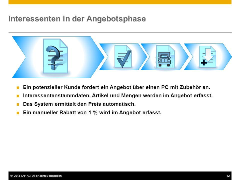 ©2013 SAP AG. Alle Rechte vorbehalten.12 Interessenten in der Angebotsphase  Ein potenzieller Kunde fordert ein Angebot über einen PC mit Zubehör an.