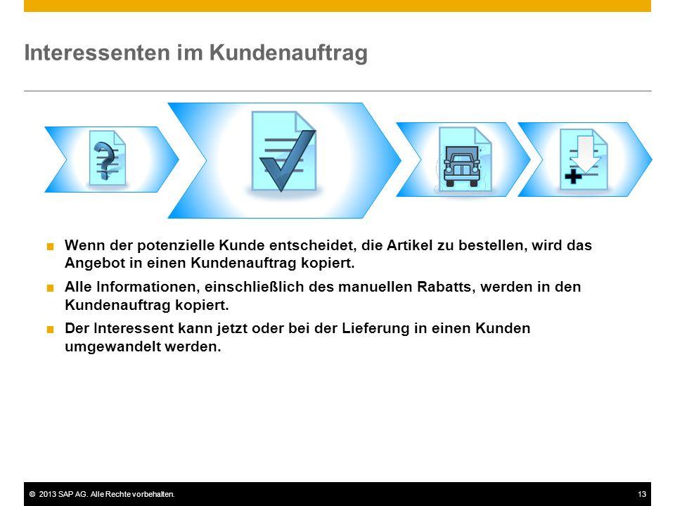 ©2013 SAP AG. Alle Rechte vorbehalten.13 Interessenten im Kundenauftrag  Wenn der potenzielle Kunde entscheidet, die Artikel zu bestellen, wird das A