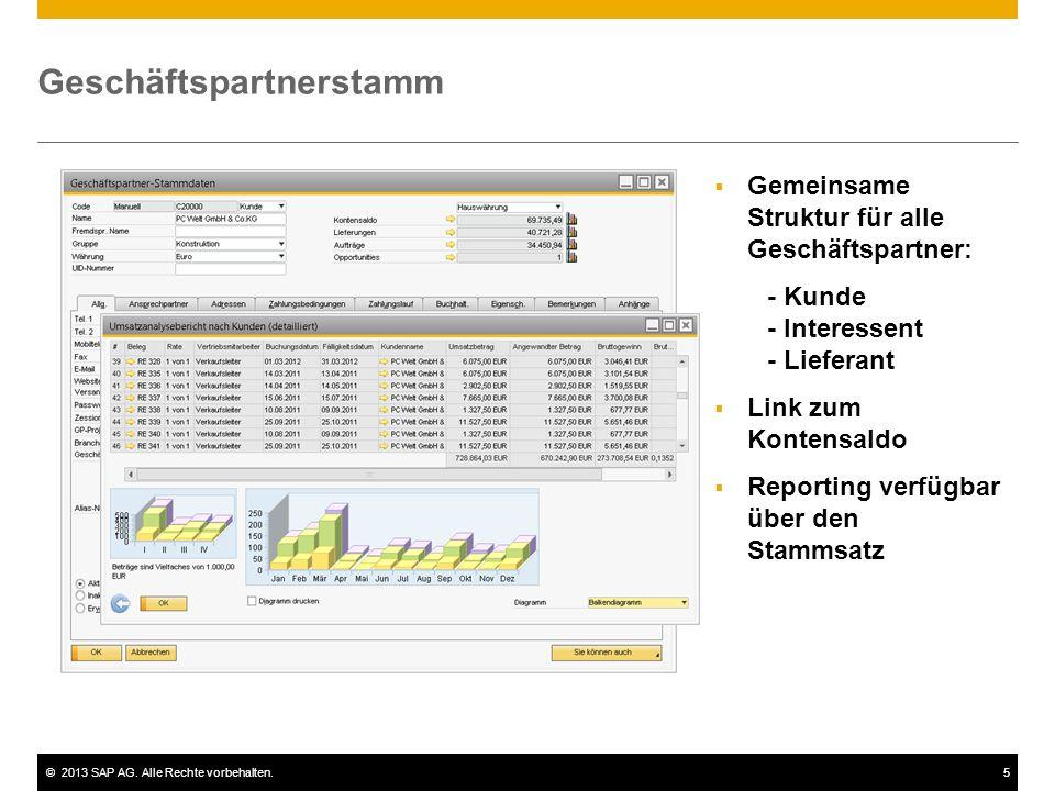 ©2013 SAP AG. Alle Rechte vorbehalten.5 Geschäftspartnerstamm  Gemeinsame Struktur für alle Geschäftspartner: - Kunde - Interessent - Lieferant  Lin