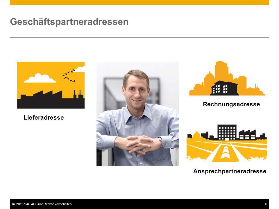 ©2013 SAP AG. Alle Rechte vorbehalten.6 Geschäftspartneradressen Lieferadresse Rechnungsadresse Ansprechpartneradresse
