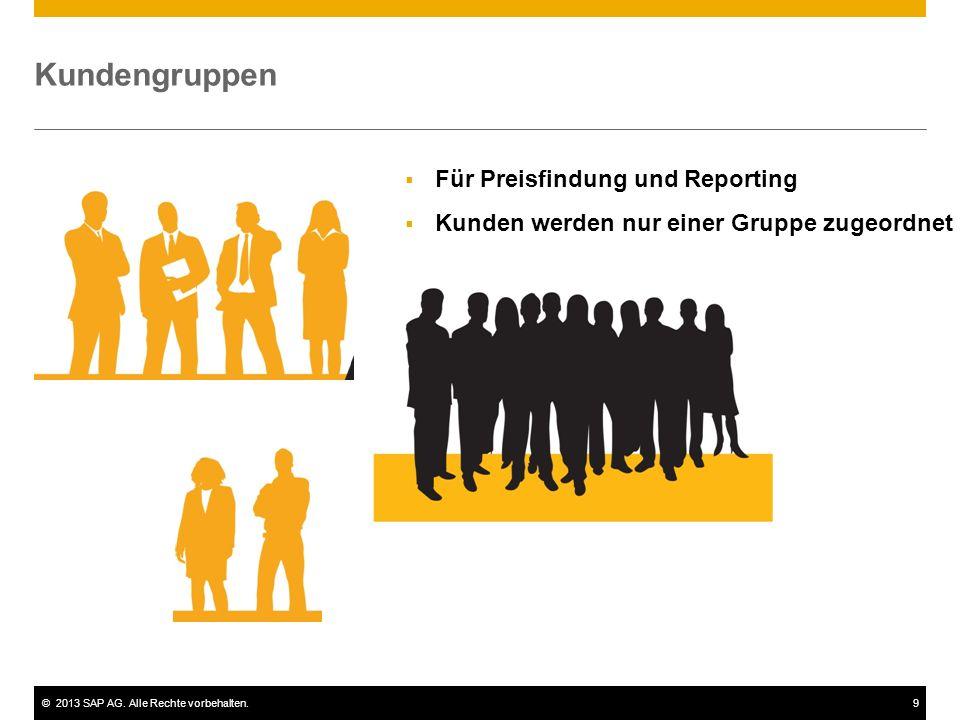 ©2013 SAP AG. Alle Rechte vorbehalten.9 Kundengruppen  Für Preisfindung und Reporting  Kunden werden nur einer Gruppe zugeordnet