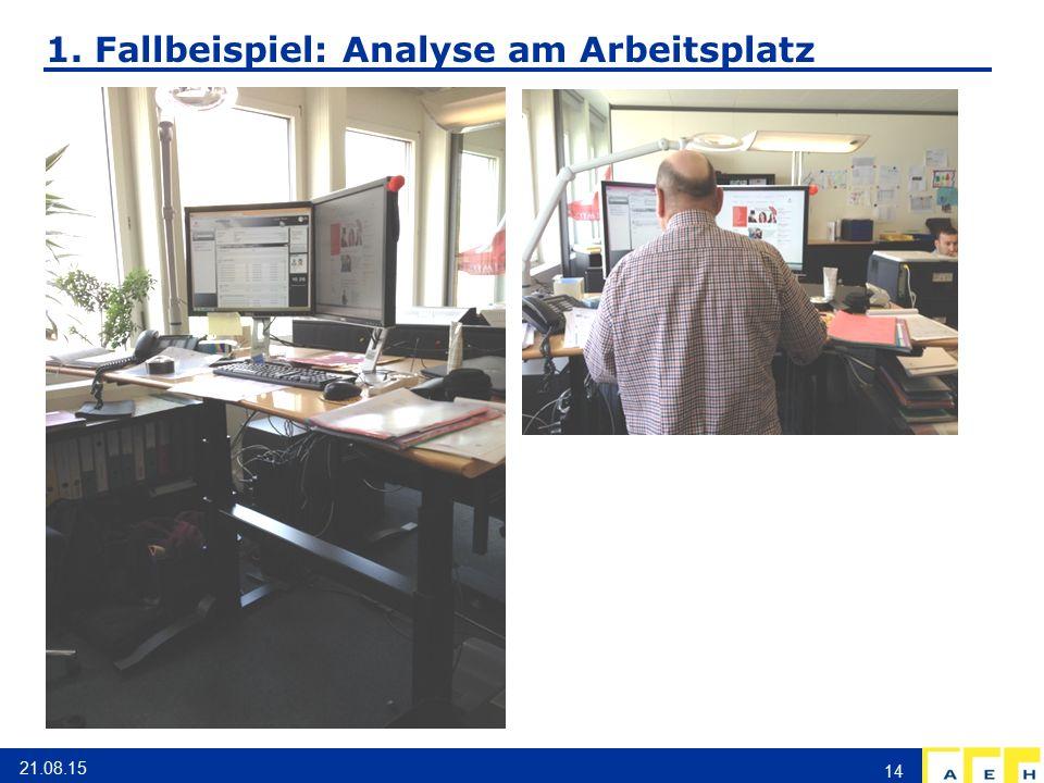 1. Fallbeispiel: Analyse am Arbeitsplatz 21.08.15 14
