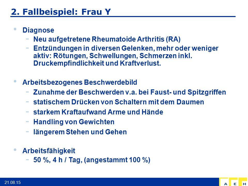 2. Fallbeispiel: Frau Y 21.08.15 Diagnose - Neu aufgetretene Rheumatoide Arthritis (RA) - Entzündungen in diversen Gelenken, mehr oder weniger aktiv: