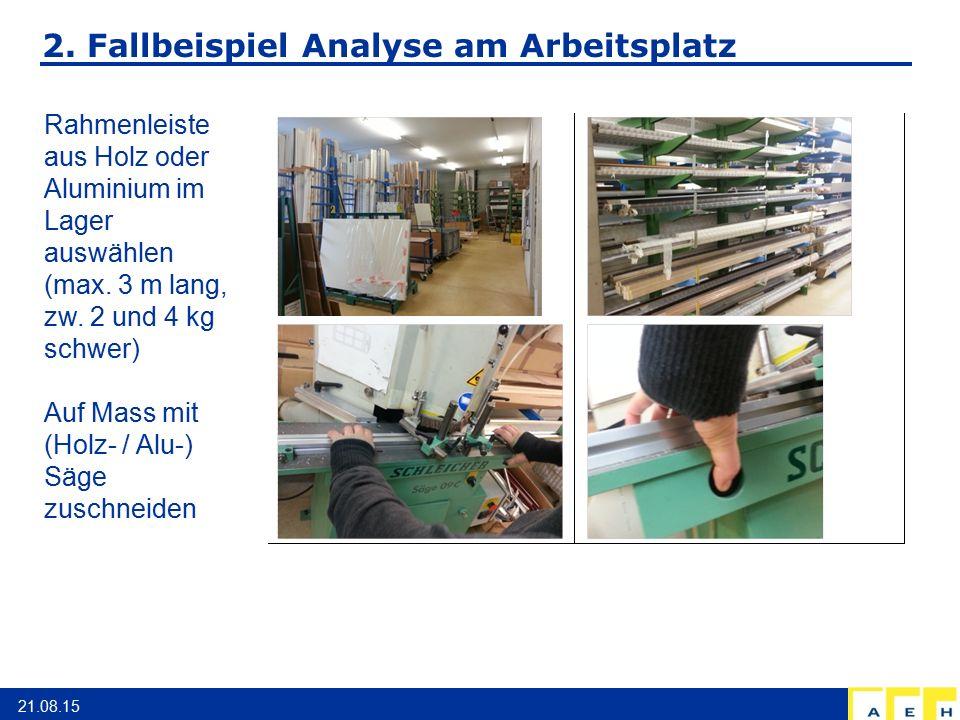2. Fallbeispiel Analyse am Arbeitsplatz 21.08.15 Rahmenleiste aus Holz oder Aluminium im Lager auswählen (max. 3 m lang, zw. 2 und 4 kg schwer) Auf Ma