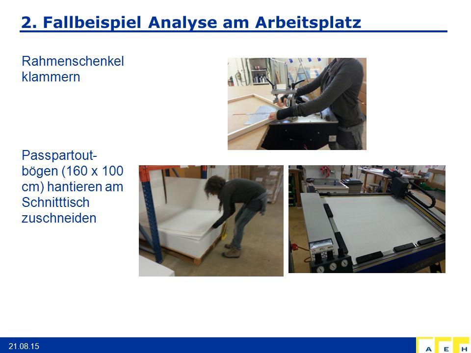 2. Fallbeispiel Analyse am Arbeitsplatz 21.08.15 Rahmenschenkel klammern Passpartout- bögen (160 x 100 cm) hantieren am Schnitttisch zuschneiden
