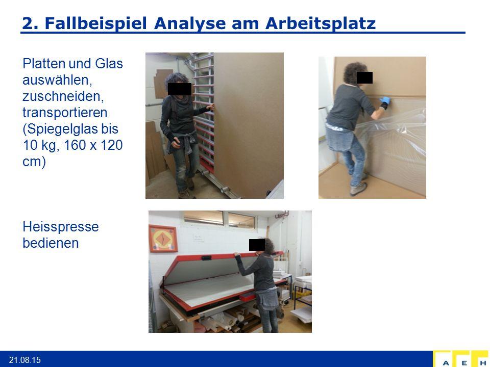 2. Fallbeispiel Analyse am Arbeitsplatz 21.08.15 Platten und Glas auswählen, zuschneiden, transportieren (Spiegelglas bis 10 kg, 160 x 120 cm) Heisspr