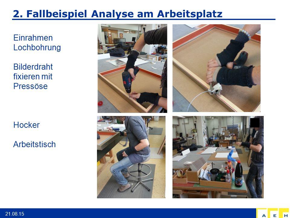 2. Fallbeispiel Analyse am Arbeitsplatz 21.08.15 Einrahmen Lochbohrung Bilderdraht fixieren mit Pressöse Hocker Arbeitstisch
