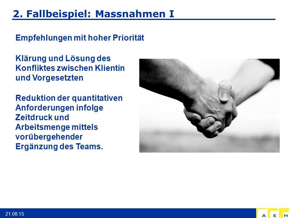 2. Fallbeispiel: Massnahmen I 21.08.15 Empfehlungen mit hoher Priorität Klärung und Lösung des Konfliktes zwischen Klientin und Vorgesetzten Reduktion