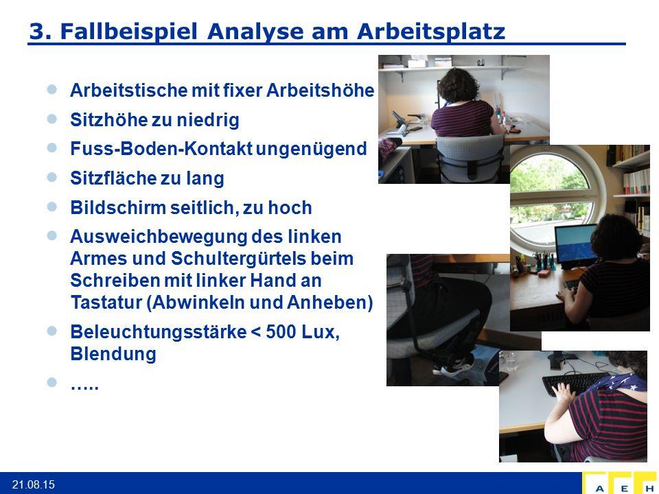 3. Fallbeispiel Analyse am Arbeitsplatz 21.08.15  Arbeitstische mit fixer Arbeitshöhe  Sitzhöhe zu niedrig  Fuss-Boden-Kontakt ungenügend  Sitzflä