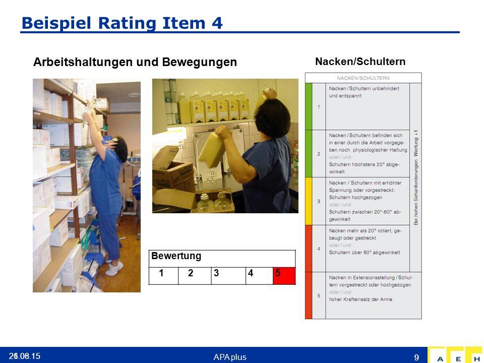 Beispiel Rating Item 4 Nacken/Schultern Bewertung 1 2345 9 26.06.15 Arbeitshaltungen und Bewegungen 21.08.15 APA plus 9