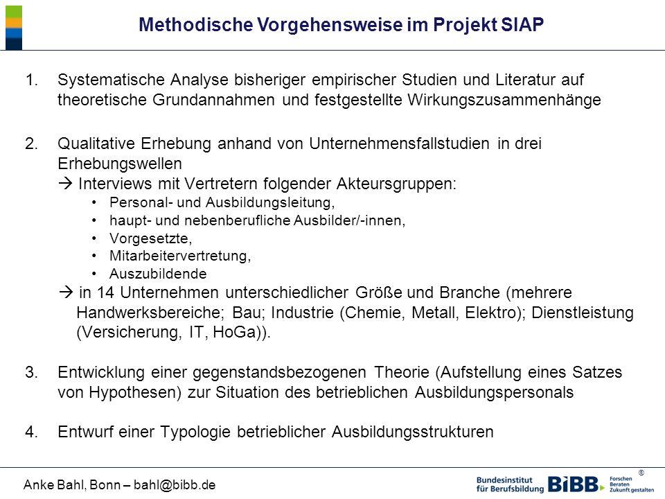 ® Anke Bahl, Bonn – bahl@bibb.de Methodische Vorgehensweise im Projekt SIAP 1.Systematische Analyse bisheriger empirischer Studien und Literatur auf t