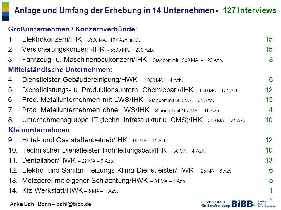® Anke Bahl, Bonn – bahl@bibb.de Anlage und Umfang der Erhebung in 14 Unternehmen - 127 Interviews Großunternehmen / Konzernverbünde: 1.Elektrokonzern