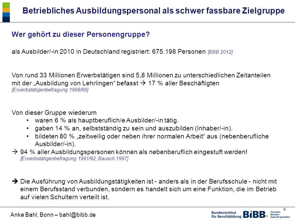 ® Anke Bahl, Bonn – bahl@bibb.de Betriebliches Ausbildungspersonal als schwer fassbare Zielgruppe Wer gehört zu dieser Personengruppe? als Ausbilder/-