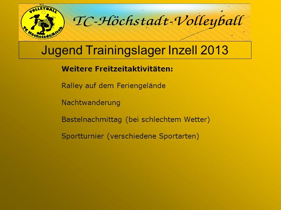 Jugend Trainingslager Inzell 2013 Weitere Freitzeitaktivitäten: Ralley auf dem Feriengelände Nachtwanderung Bastelnachmittag (bei schlechtem Wetter) Sportturnier (verschiedene Sportarten)