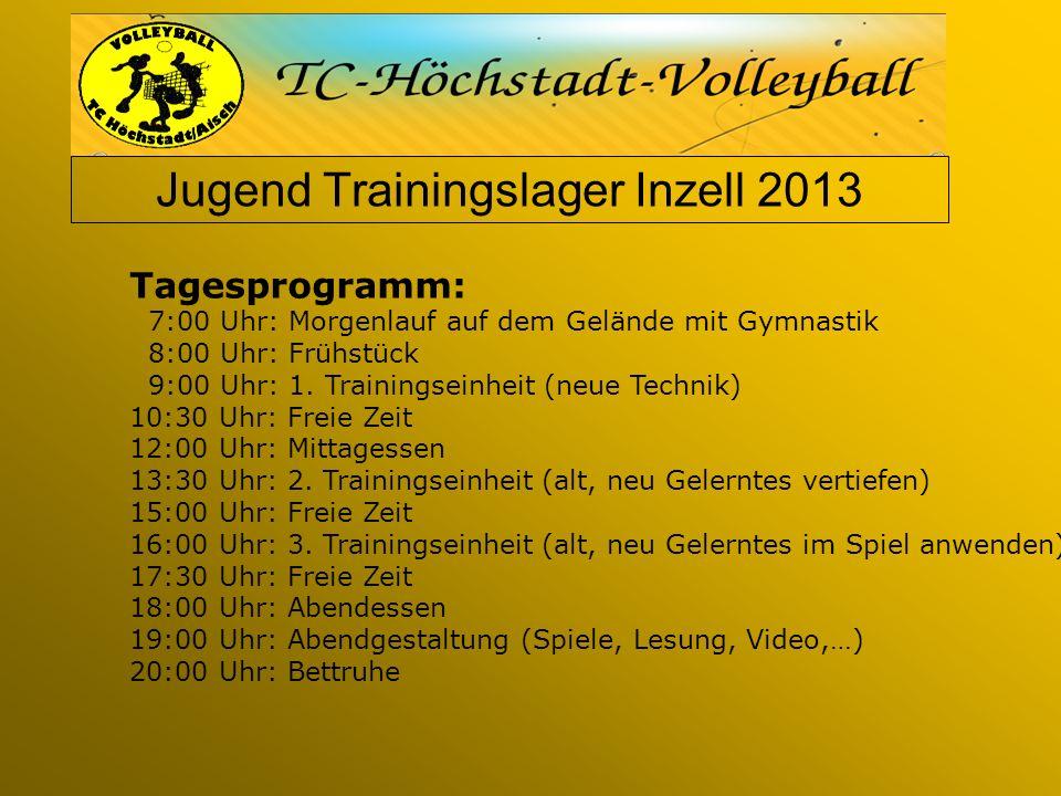 Jugend Trainingslager Inzell 2013 Tagesprogramm: 7:00 Uhr: Morgenlauf auf dem Gelände mit Gymnastik 8:00 Uhr: Frühstück 9:00 Uhr: 1.