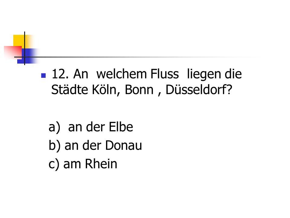 12.An welchem Fluss liegen die Städte Köln, Bonn, Düsseldorf.