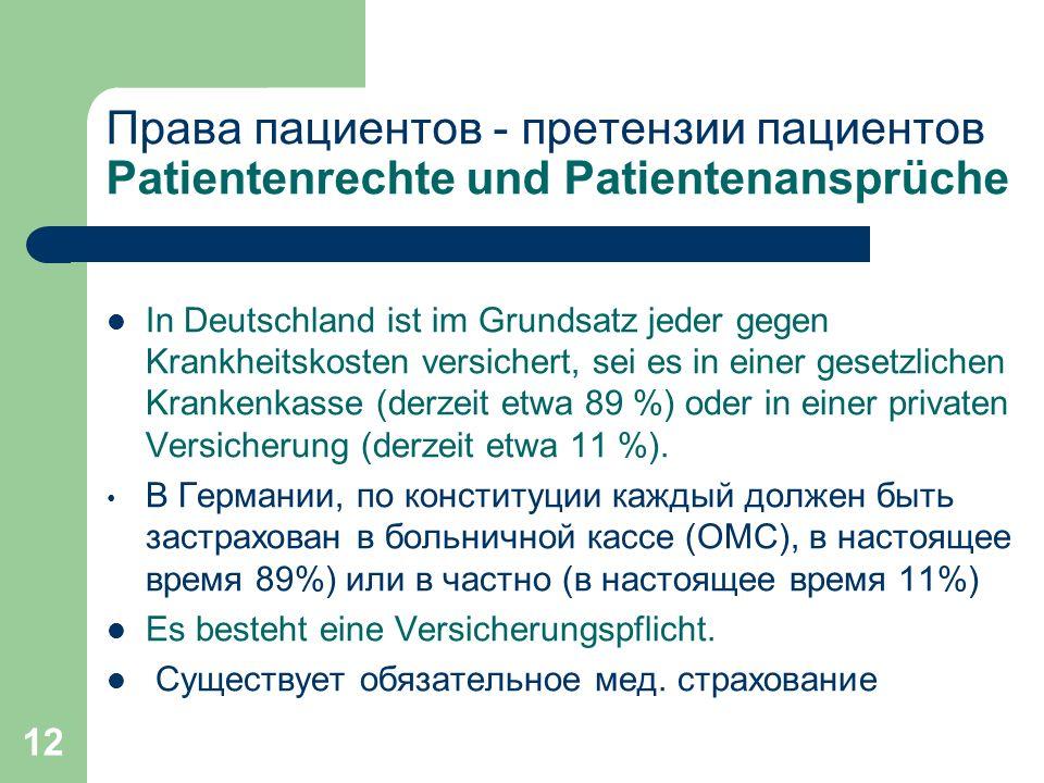 12 Права пациентов - претензии пациентов Patientenrechte und Patientenansprüche In Deutschland ist im Grundsatz jeder gegen Krankheitskosten versichert, sei es in einer gesetzlichen Krankenkasse (derzeit etwa 89 %) oder in einer privaten Versicherung (derzeit etwa 11 %).