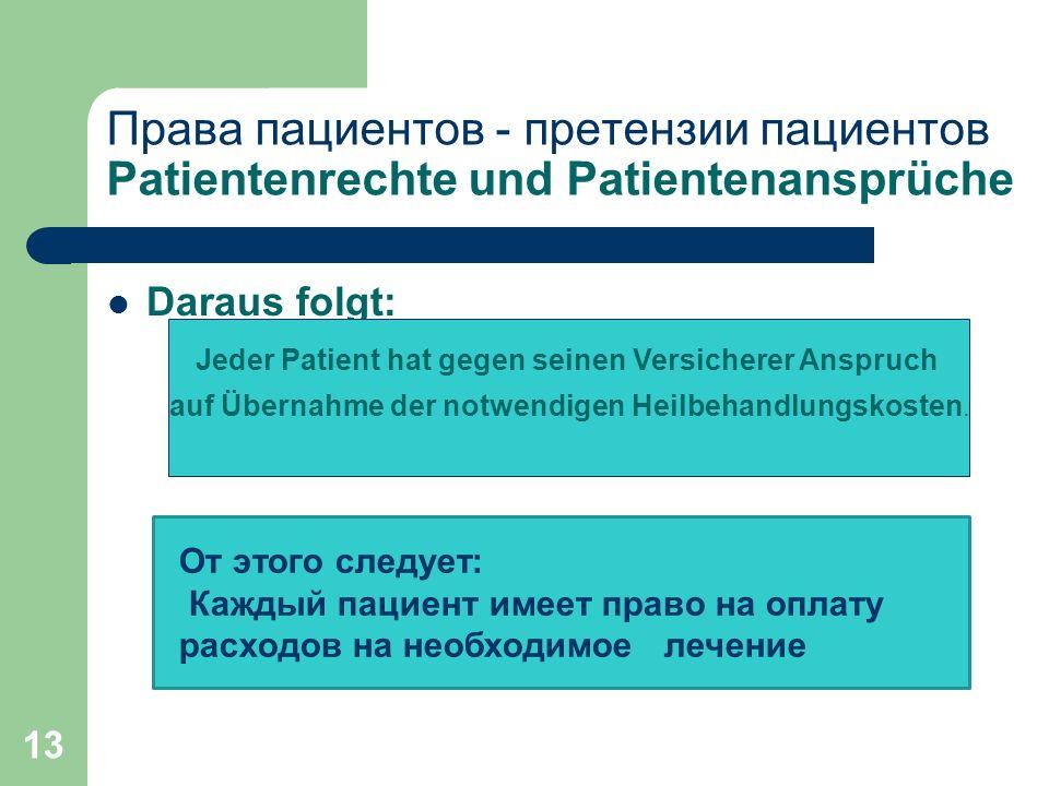 13 Права пациентов - претензии пациентов Patientenrechte und Patientenansprüche Daraus folgt: Jeder Patient hat gegen seinen Versicherer Anspruch auf Übernahme der notwendigen Heilbehandlungskosten.