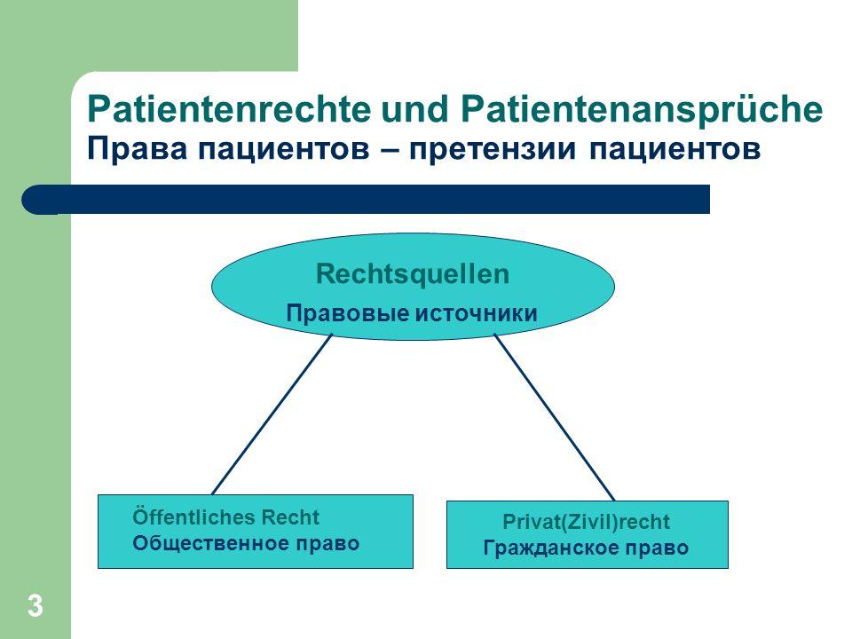 14 Права пациентов - претензии пациентов Patientenrechte und Patientenansprüche Das Behandlungsverhältnis zwischen Arzt/ Krankenhausträger einerseits und Patient andererseits unterliegt regelmäßig dem ►Zivilrecht (§§ 630a bis 630h BGB).
