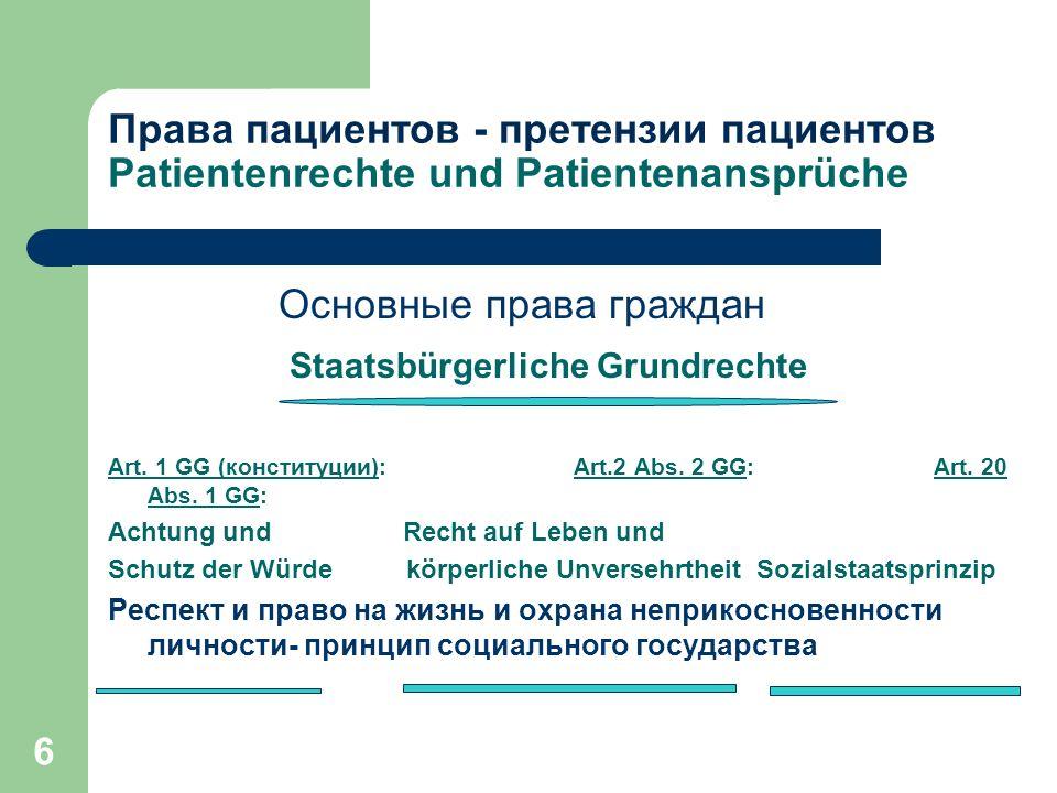 6 Права пациентов - претензии пациентов Patientenrechte und Patientenansprüche Основные права граждан Staatsbürgerliche Grundrechte Art. 1 GG (констит