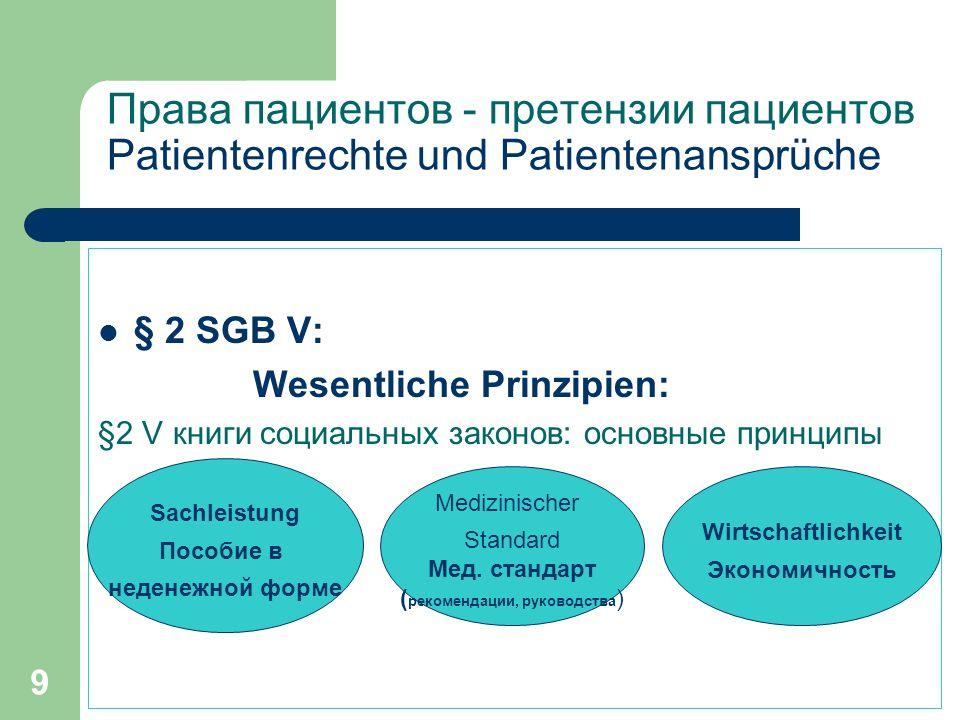 9 Права пациентов - претензии пациентов Patientenrechte und Patientenansprüche § 2 SGB V: Wesentliche Prinzipien: §2 V книги социальных законов: основные принципы Sachleistung Пособие в неденежной форме Medizinischer Standard Мед.