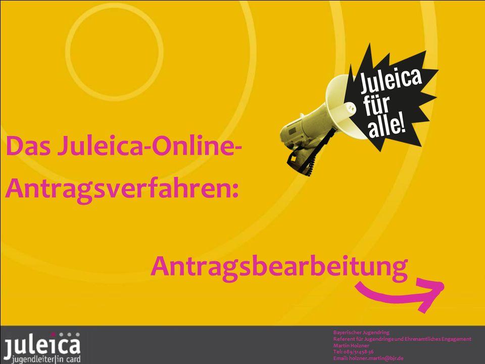 Das Juleica-Online- Antragsverfahren: Antragsbearbeitung Bayerischer Jugendring Referent für Jugendringe und Ehrenamtliches Engagement Martin Holzner Tel: 089/51458-36 Email: holzner.martin@bjr.de