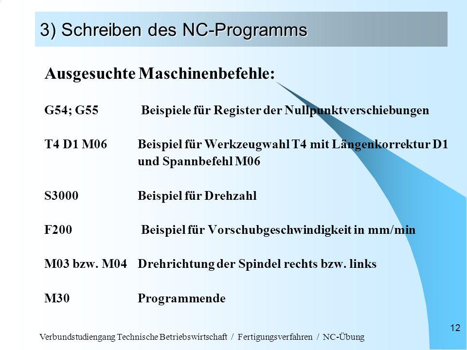 Verbundstudiengang Technische Betriebswirtschaft / Fertigungsverfahren / NC-Übung 12 3) Schreiben des NC-Programms Ausgesuchte Maschinenbefehle: G54;