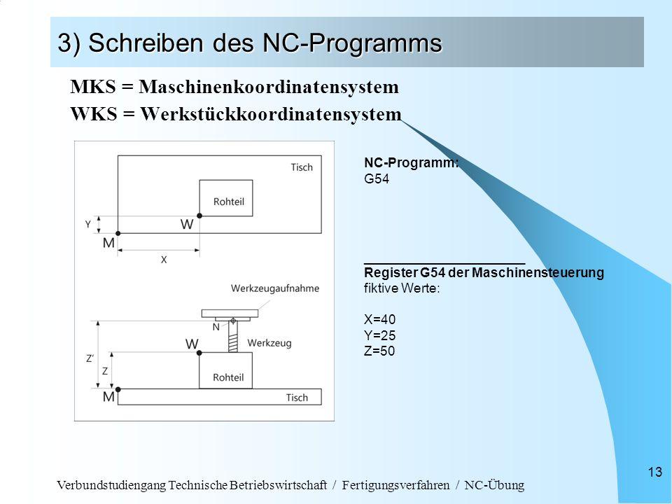 Verbundstudiengang Technische Betriebswirtschaft / Fertigungsverfahren / NC-Übung 13 3) Schreiben des NC-Programms MKS = Maschinenkoordinatensystem WK
