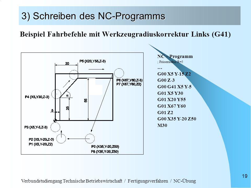 Verbundstudiengang Technische Betriebswirtschaft / Fertigungsverfahren / NC-Übung 19 3) Schreiben des NC-Programms Beispiel Fahrbefehle mit Werkzeugra
