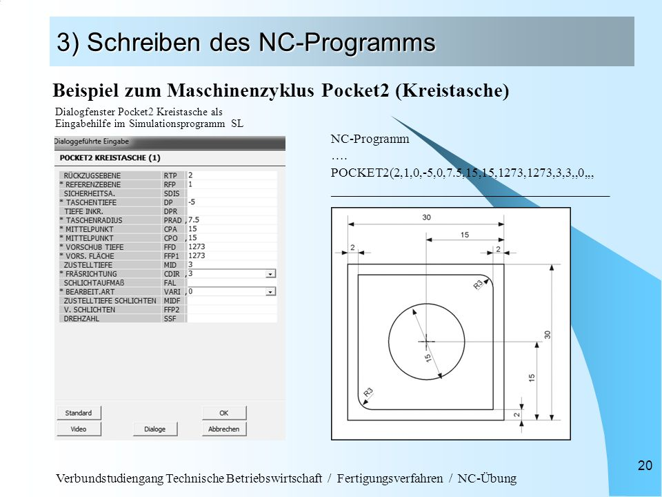 Verbundstudiengang Technische Betriebswirtschaft / Fertigungsverfahren / NC-Übung 20 3) Schreiben des NC-Programms NC-Programm …. POCKET2(2,1,0,-5,0,7